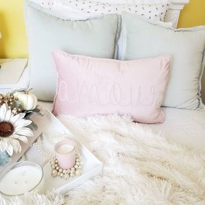 Pink Pillow and Candle Set
